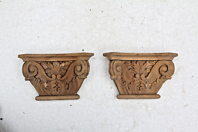 Pair Beautiful Hand Carved Wooden Gothic Style Corbel Fancy Wall Plaque Carving