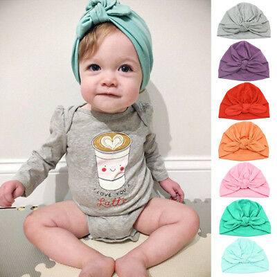 AU Baby Girl Boy Newborn Toddler Kids Beanie Solid Bow Knot Wrap Cap Turban Hats
