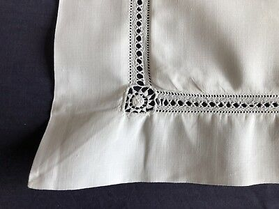 Superb Edwardian Pair Vintage White Irish Linen Oxford Pillow Cases AOC Monogram