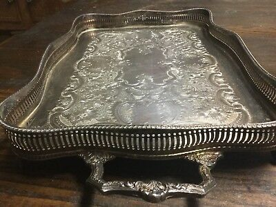 ANTIQUE Ball and Claw feet this Silver plated tray-MADE IN ENGLAND-SIGNED