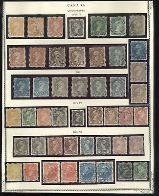 CANADA(1868-1893), Fabulous Assortment of Classic Stamps mounted on a page