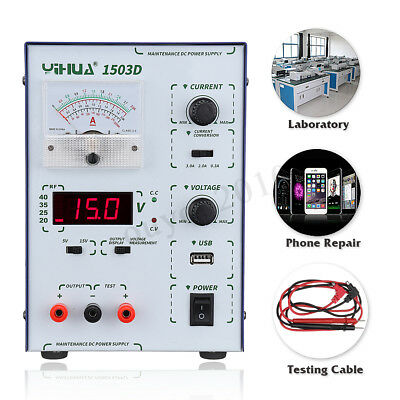 YIHUA 15V 3A 110V/220V DC Source Alimentation Réglable Dual Digital Laboratoire