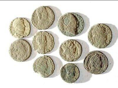 10 ANCIENT ROMAN COINS AE3 - Uncleaned and As Found! - Unique Lot 25902