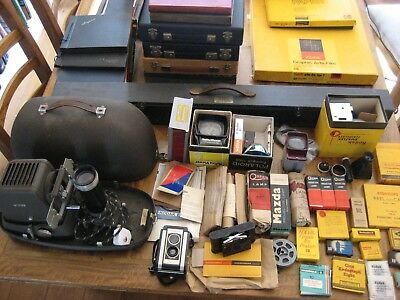 Old Vintage Photography Items Cameras, Projectors, Viewers, Bulbs, Books Job Lot
