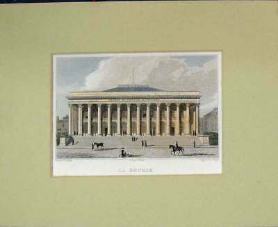 Old Antique Print 1829 View La Bourse Building Paris France Hand Coloured 19th