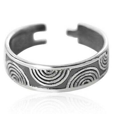 925 Sterling Silver Open Ring for toe midi or pinkie little finger Curved Ripple
