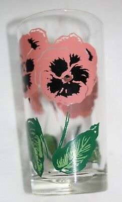 RARE Boscul peanut butter drink glass tumbler pink Pansy green name BS486