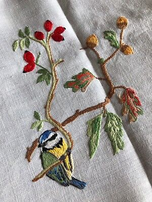 Superb Vintage Garden Birds Hand Embroidered Med. White Irish Linen Tablecloth