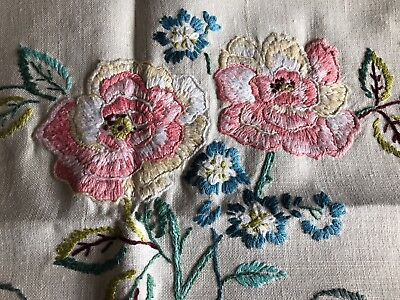 Super Vintage Floral Heavily Hand Embroidered Small Cream Irish Linen Tablecloth