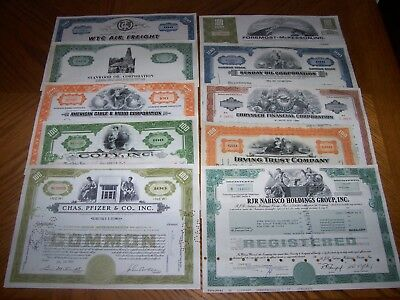 Lot of 10 Different Stock Certificates. TL8