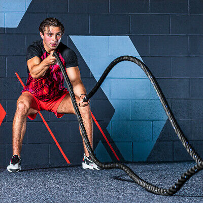30ft Battle Rope - 1.5in Thick Weighted Gym Rope - Fitness Conditioning CrossFit