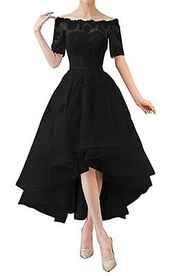 NOVIA Women's Off Shoulder High Low Lace Dress 1/2 Sleeves Evening Gown-BLACK