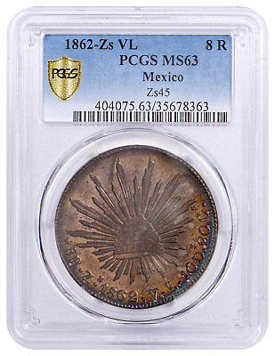 1862-Zs VL Mexico Silver 8 Reales PCGS MS63 - Finest Known SKU55219