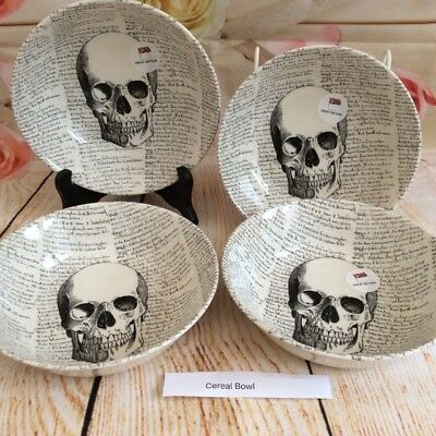 Cereal Bowls (4) - Skull with Script - Royal Stafford