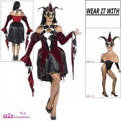 Ladies Gothic Venetian Harlequin Adult Halloween Evil Jester Fancy Dress Outfit