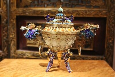 Antique Chinese Gold Gilt 925 Sterling Silver Filigree Dragon Enamel Jade Bowl