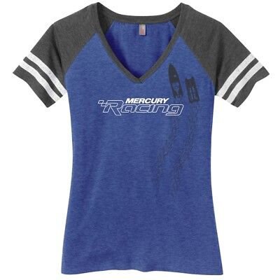 Mercury Racing Ladies Game V-Neck Tee Blue