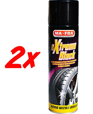 2x MA*FRA EXTREME BLACK NERO GOMME LUCIDANTE GOMME SPRAY MA FRA MAFRA 500ML AUTO