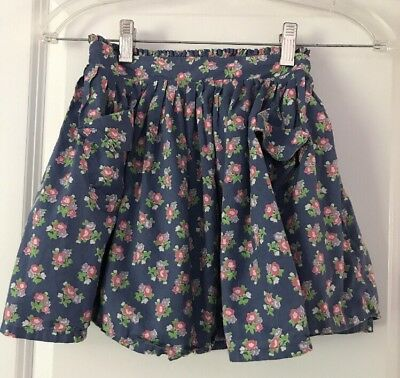 MINI BODEN Girls Blue Lined Floral Skirt Size 7-8