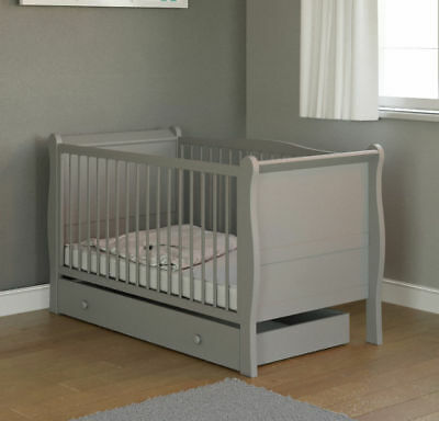 New Little Acorns Grey Sleigh Cot Bed Baby Cotbed & Drawer + Foam Mattress