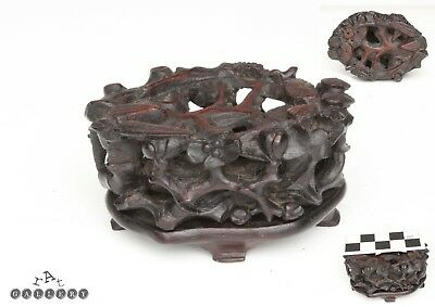 Antique Qing Dynasty Carved Wood Stand For Jade