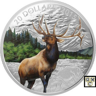 2015 'Majestic Elk' Colorized Proof $20 Silver Coin 1oz .9999 Fine (17342) (NT)