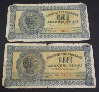 GREECE 1000 Drachmai 1941 Alexander the Great 2 different codes BANKNOTES No#2 !