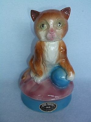 Vintage Cat Liquor Bottle Decanter Ezra Brooks 1975 – Excellent