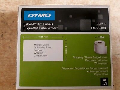 Dymo Shipping/Name Badge Label 54x101mm Pk 220ES99014  S0722430 Permanent Paper