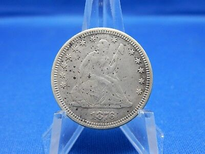 1876 Seated Liberty Silver Quarter - Extra Fine, Spotted Surface