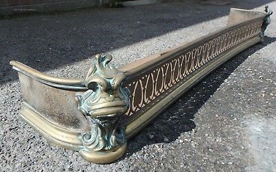 Victorian antique cast brass cut steel French Louis XVI style fire curb fender