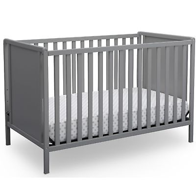 Delta Children Hudson 4-in-1 Convertible Crib, Grey Gray