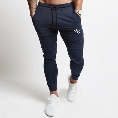 Mens Gym Slim Fit Trousers Tracksuit Bottoms Skinny Joggers Sweat Track Pants 8C