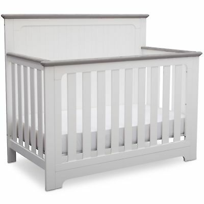 Delta Children Providence 4-in-1 Convertible Crib, Bianca White with Rustic H...