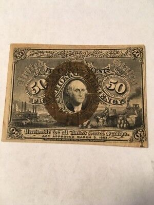 1863 Fractional Currency 50 Cent Second Issue