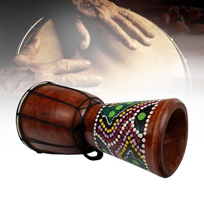 4 Inch African Djembe Percussion Mahogany Hand Drum with  Goat Skin Surface JC