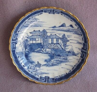 Early 19th century Chinese Export Porcelain Blue and White Gilt Plate c.1810