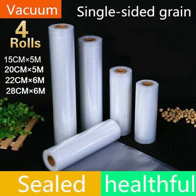4 Rolls Vacuum Food Sealer Seal Saver Bags 5/6M Saver Storage 15/20/22/28CM