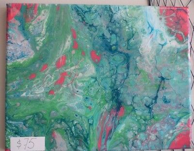 "Acrylic Dirty Pour Painting 11""x14"" Epoxy Resin Marble Ocean colors"