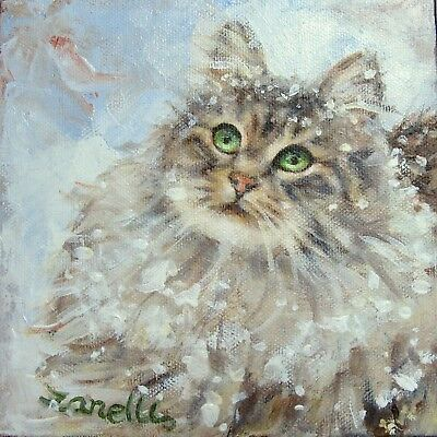 MAINE COON CAT CARDS Tabby Blank Set 4 Boxed Note Cards from Original Painting