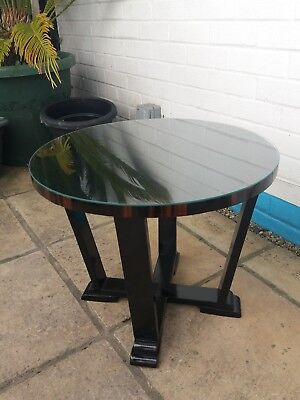 French Art deco  lacquered table with macassa wood banding and glass top