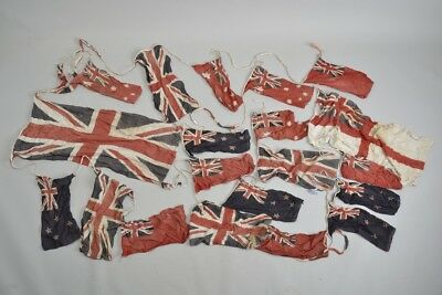 Long Run of Early C20th Commonwealth Cotton Coronation Bunting Flags. Ref EOX