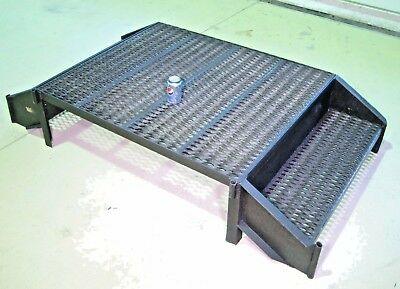"""Work Platform, Welded Steel 2 Step Stand, Double Entry, 72"""" 40"""" 15"""", 4 CNC Mill"""