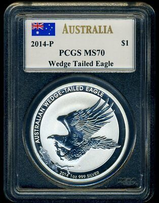 2014-P Silver Australian Wedge-Tail Eagle Pcgs Ms70  Mercanti Signed Flag Label