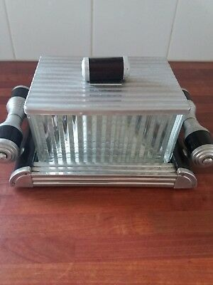 French Art deco 1930s glass biscuit  dish with chrome lid on stylish tray