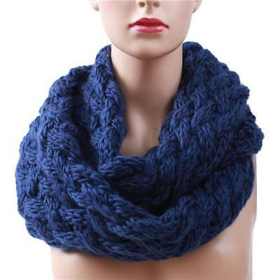 Women Warm Knit Neck Circle Wrap Cowl Loop Snood Scarf Shawl For Winter 8C