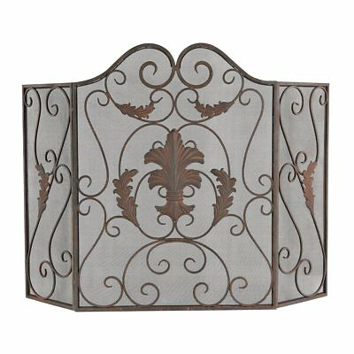 NEW 3 PANELS TUSCAN ACANTHUS ORNATE SCROLL Fireplace Screen WITH MESH BACK