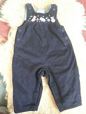 Girls Jojo maman bebe Navy Needlecord Embroidered Dungarees 6-12 Months
