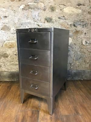 Vintage Industrial Stripped Metal 4 Drawer Filing Cabinet