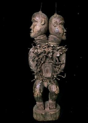 Old Tribal Bakongo 2 Headed Nail Figure            --- Congo